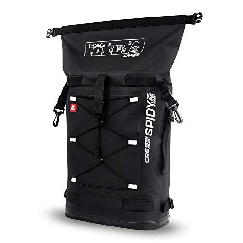 Cressi Spidy Dry Deckpack Black 25 L Mochila impermeable diseñada para fijarla a los D-Rings de las tablas de SUP Cressi Hydrosports, Unisex adulto, Negro, 25 L