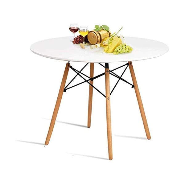 HAYOSNFO Round Dining Table, White Kitchen Table, Pedestal Coffee Table, Modern Leisure...