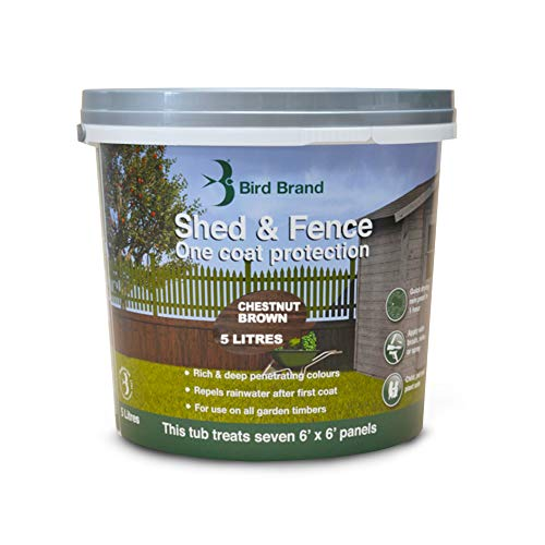 Bird Brand Shed & Fence One Coat Protection, 5 Litre, Chestnut Brown Colour