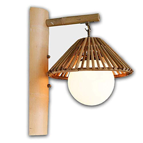 Dfgdf Lámpara de pared Personalidad Tema Restaurante Bambú Lámpara de Pared Inn Bambú Lámpara Creativa Granja Casa de Té Simple Bambú Trenzado