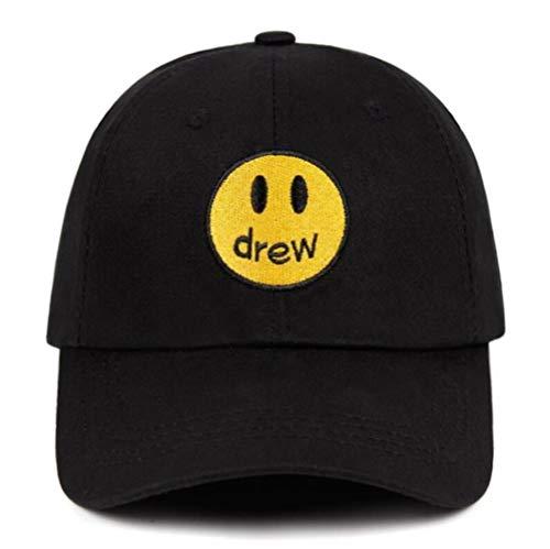 AJSJ Drew Justin Bieber Smiley Gesicht Papa 100% Baumwolle Drew House Baseball CapFragment Unisex Street Trend Caps, Schwarz