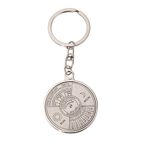 HCFKJ Geschenk für Papa, 50 Jahre ewiger Kalender Schlüsselanhänger Einzigartiges Kompass Metall KeyChain Geschenk (2010-2060)