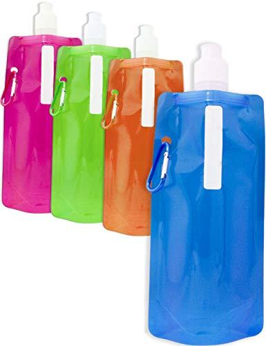 Outdoor Saxx®, 4 borracce colorate pieghevoli con moschettone, per bicicletta, trekking, festival, aereo, capacità 500 ml