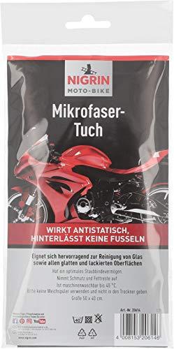 NIGRIN MOTO-BIKE Microfasertuch für Motorrad Größe 50 x 40 cm, geeignet zur Reinigung von Glas und glatten Oberflächen, waschbar bis 40° C