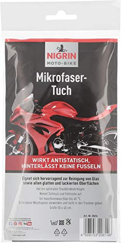 Nigrin 20614 Moto-Bike Microfasertuch für Motorrad Größe 50 x 40 cm, geeignet zur Reinigung von Glas und glatten Oberflächen, waschbar bis 40° C