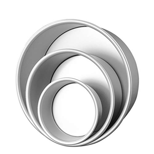 AISOO Pack 3 Teglie da Forno, Set Mini Tortiera Rotonda con Fondo Rimovibile per Pasticceria Lega di Alluminio Antiaderente Stampo per Torte Chiffon Formaggio (10cm-15cm- 20cm)