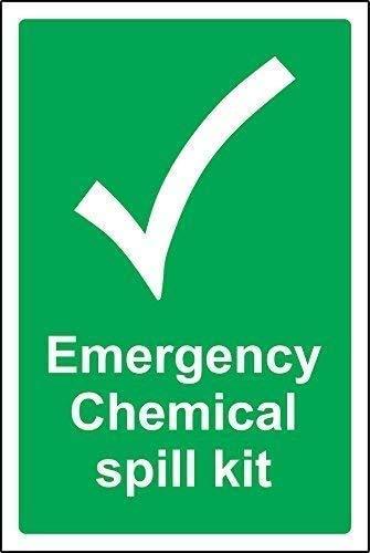 DKISEE Letrero de metal de aluminio novedoso de emergencia con kit de derrames químicos, señal de seguridad de 30,5 x 45,7 cm