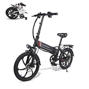 immagine di SAMEBIKE Batteria elettrica al Litio 48V 10.4AH Batteria al Litio Pieghevole con Telecomando Bicicletta elettrica per Adulti (Nera)