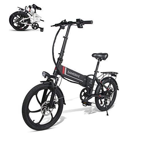 SAMEBIKE Ruota da 20 Pollici 350W Bici elettrica 48V 10.4AH Batteria al Litio con Telecomando 20LVXD30 Pieghevole Bicicletta elettrica per Adulti (Nero)