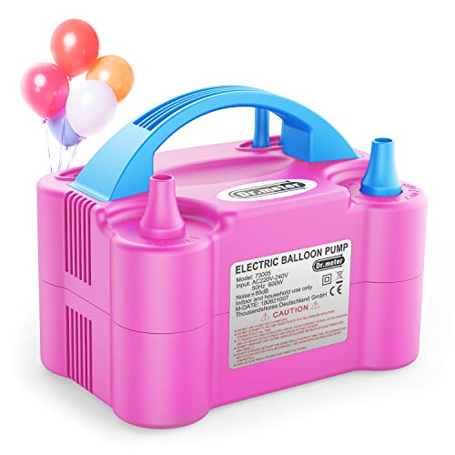 Balloon Air Pump, Dr.meter Electric Inflator Pump with Dual Nozzle Inflator Blower Portable Pump for Party, Wedding, Birthday, Promotional Activities and Festival Decoration(Pink+ blue)