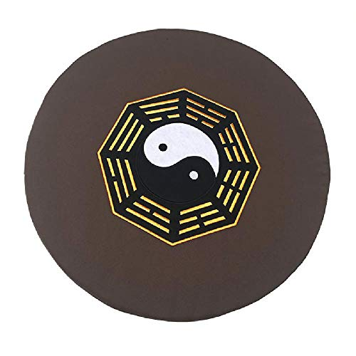 TAOBEGJ Meditationssitzkissen, Rundes Großes Bodenkissen, Verdickter Rutschfester Bodenmattenhocker Für Zen Yoga Mit Waschbarem Bezug Für Den Innen- Und Außenbereich,Grey-60 * 60 * 10cm