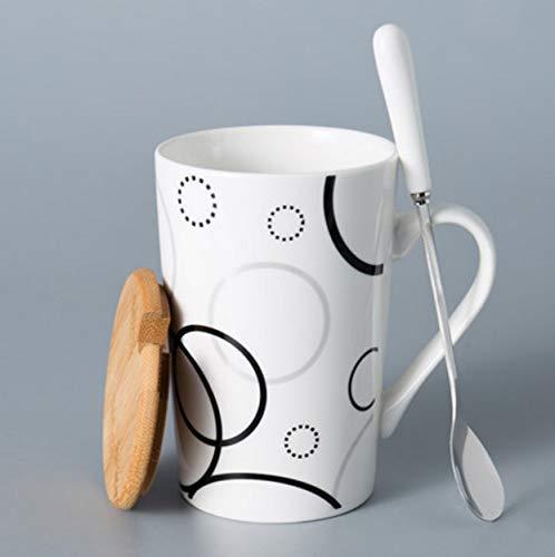 Elegante y práctica taza de cerámica. Taza simple de gran capacidad for el hogar Taza con tapa Tapa Personalidad Tendencia Taza de café Taza de té 420 ml [Cubierta de bambú + Cuchara] (Canción de amor