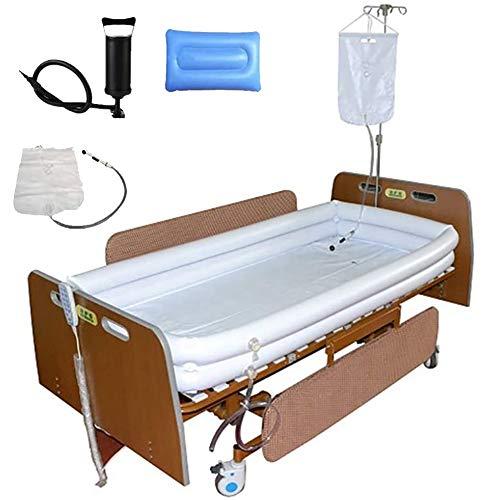Enwepoeo PVC Medical Adult Aufblasbare Behindertengerechte Badewanne, Für Bettlägerige Patienten Leicht Zu Bettendes Bad, Mit Pumpe + Duschwassersack + Aufblasbarem Kissen