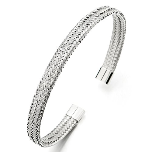COOLSTEELANDBEYOND Elástica Ajustable, Trenzado Entretejido Acero Inoxidable Cable Pulsera de Hombre Mujer, Color de Plata