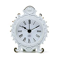 NIKKY HOME Baroque Style Pewter Quartz Small Table Clock 3.12'' by 1.35'' by 3.87'', White