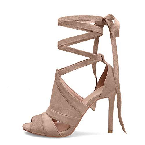 Hinyyrin Krawatte Schnür Stiefel High Heels, Damen Sandalen, Kreuz Verband Schuhe Rom High Heels (42 EU, Beige)