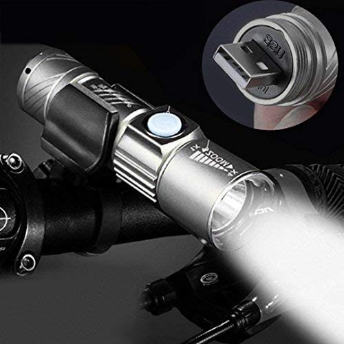 USB wiederaufladbare Taschenlampe, Gusspower Q5 LED 3000LM Super helles Licht, Mini Zoomable Focus Tragbare verstellbar Fackel, Multipurpose Lampe für Camping Wandern Outdoor Sport (Grau)