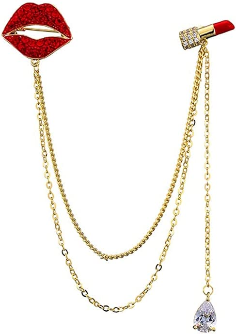 GYZX Chain Mouth and Lipstick Brooches Women Las Vegas Challenge the lowest price of Japan ☆ Mall Men Rhinestone Roug