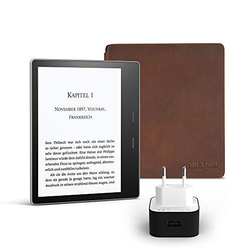 Kindle Oasis Essentials Bundle mit einem Kindle Oasis E-reader (7 Zoll, 32 GB, Grafit), einer Amazon Premiumlederhülle und einem Amazon Powerfast 9-W-Ladegerät