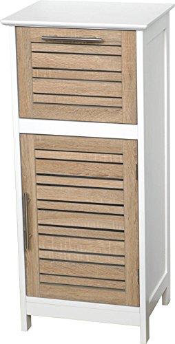 Colonne Meuble bas de salle de bain - 1 porte et 1 tiroir - Aspect Chêne vieilli