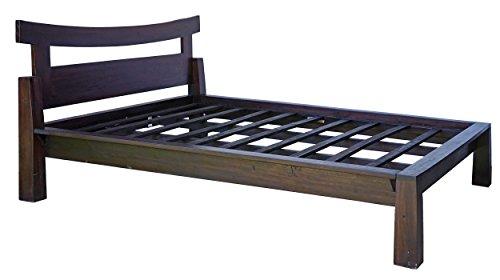 Guru-Shop Doppelbett aus Vollholz im Asia-Kolonialstil 160 cm - Modell 1, Braun, Betten