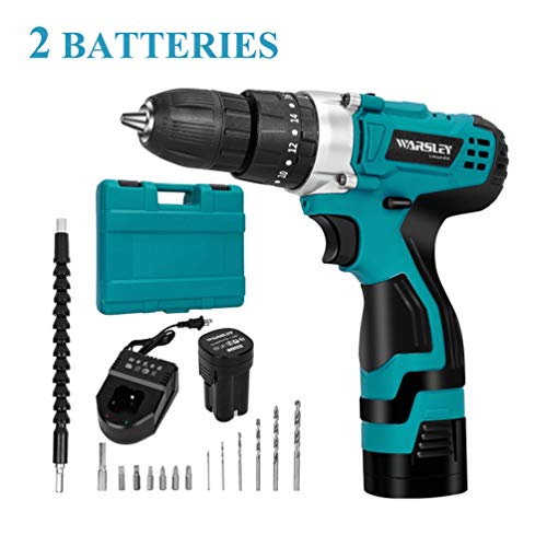 WARSLEY 16.8V 1.5Ah Lithium Ion Power Drill/Driver Set - Compact Drill Kit with LED, 3 Function, 2 Speed, 2 Batteries, 1 Hour Fast Charger, 18 Torque Setting, 13 pcs Drill/Driver Bits Included