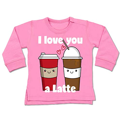 Valentinstag Baby - I Love You a Latte weiß - 12/18 Monate - Pink - BZ31_Baby_Pullover - BZ31 - Baby Pullover