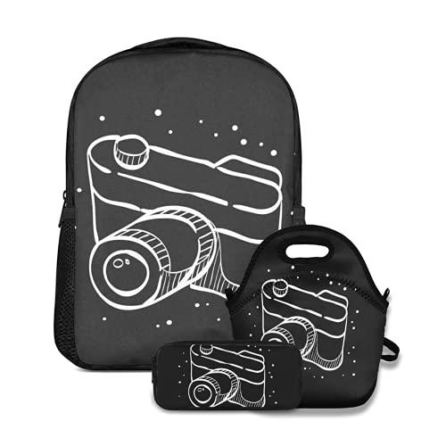 Conjunto de mochila escolar,Cámara telémetro en líneas Enfoque digital,con bolsa de almuerzo y estuche para lápices para mochila para adolescentes