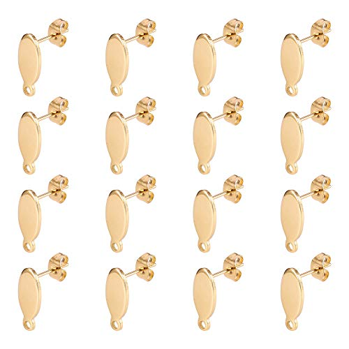 Stainless Steel Color PandaHall Elite 60 pcs 304 Stainless Steel Pad Pierced Post Earring Pin Post with Loop for DIY Earring Making