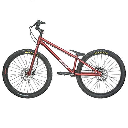 LJLYL 26 Zoll Street Trials Bike Komplette Trial Bikes für Erwachsene - Männer und Frauen - Anfänger und Fortgeschrittene, Crmo Rahmen und Gabel, stark und robust,Rot,Upgraded Version