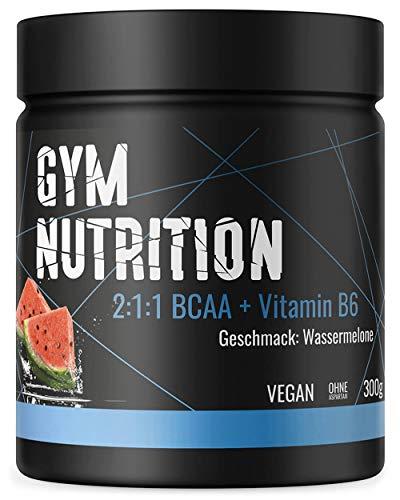 BCAA + Vitamin B6 hochdosiertes Pulver - Leucin, Isoleucin, Valin 2:1:1 - in deutscher premium Qualität - Vegan (Wassermelone)