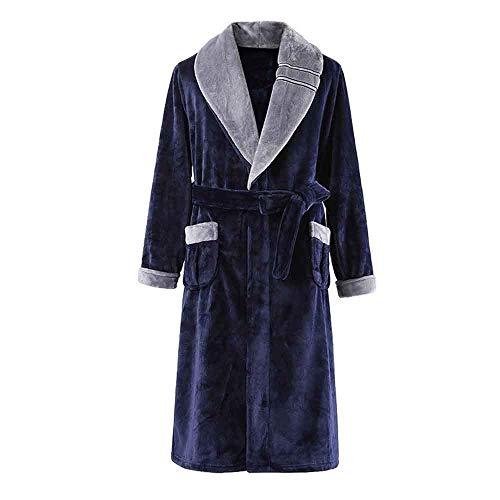 WEI-LUONG Usar Pijamas de Franela Inicio camisón Masculino del otoño y del Invierno Melena Mediana Espesado Albornoz Masculino Invierno Polar de Coral de los Hombres, XL japonés