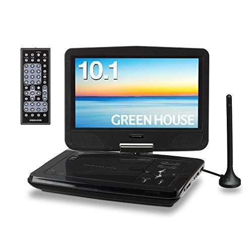 グリーンハウス10型ワイドポータブルDVDプレーヤーTVチューナーモデルGH-PDV10MT-BK
