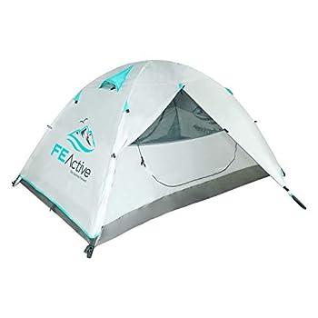 FE Active Camping Tente 2 Personnes - Tente 4 Saisons 1-2 Places de Haute Qualité Imperméable Indéchirable Double-toit Avec Armature Aluminium pour Camping et Randonnée   Conçue en Californie, USA