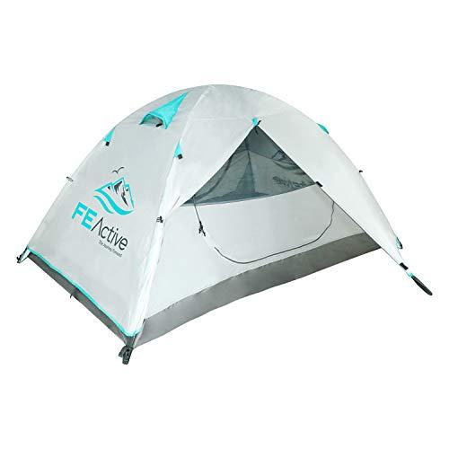 FE Active Zelt für 2 Personen - Vollständig Wasserdicht, Eingehakten Aluminiumstangen, Doppellagigem Anti-Rip Material für 3 - 4 Jahreszeiten, Camping Rucksackreisen Wandern | Entworfen in Kalifornien