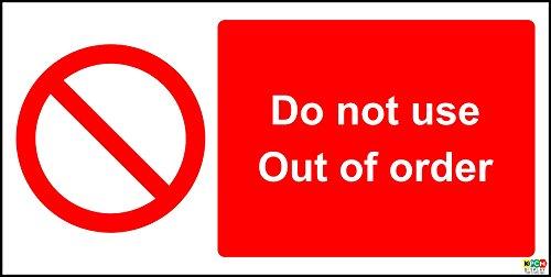 150x 300mm nicht Gebrauch Out Of Order 1,2mm starrer Kunststoff Schild.