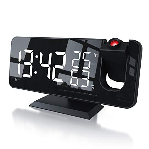 CSL - Radiowecker digital - Projektionswecker – 7 Tasten – 2 Weckalarme – Wecker mit Projektion und Licht – Autodimmer - 15 FM Radiospeicher – Temperatur und Luftfeuchtigkeitsanzeige - mit Netzteil