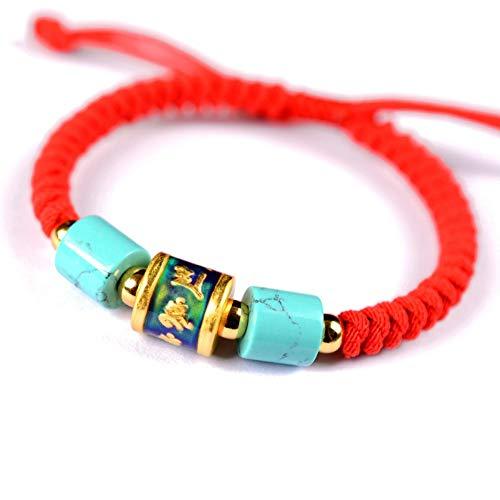 ESCYQ Männer Armbänder Armband Bettelarmband,999 Silber Sechs Zeichen Temperatur Induktion Farbe Ändern Männer Rot Armband Armband Hand-Woven Hand Mit Zum Geburtstag Geschenk