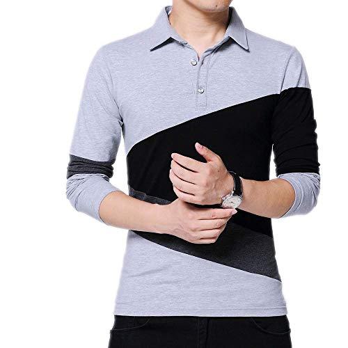 Otoño e Invierno de los Hombres de los Hombres de Manga Larga Camiseta otoño a Cuadros Costura Camiseta algodón Camiseta
