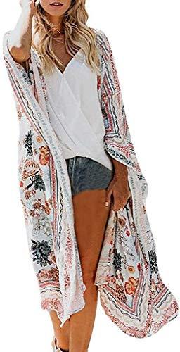 Crystallly Cárdigan de gasa para damas, kimono kaftan, cubierta de muchísimas playas hasta la playa estilo simple poncho longitud verano otoño marroquí camisa larga chaqueta ligera