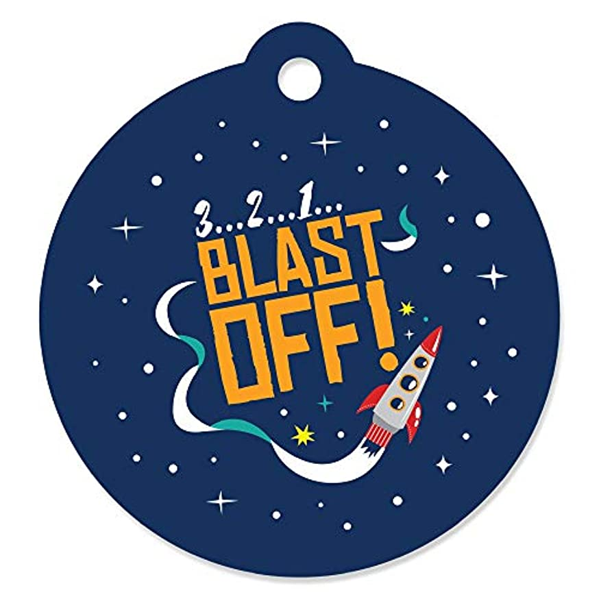 Blast Off to Outer Space - Rocket Ship Baby Shower or Birthday Party Favor Gift Tags (Set of 20)