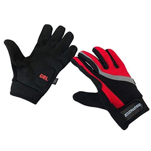 Speq Damen Vollfinger Fahrradhandschuhe Gel Gefüttert Fahrrad Radfahren Handschuhe Rot Schwarz - Gr. XS