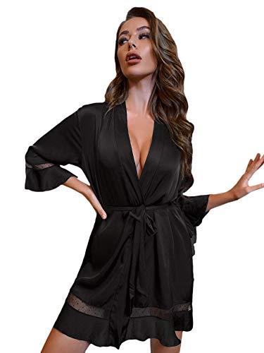 DIDK Damen Morgenmantel Bademantel Satin Sexy Kimono Kurz Robe mit Gürtel Nachthemd für Braut Nachtwäsche mit Netzeinsatz Schwarz M