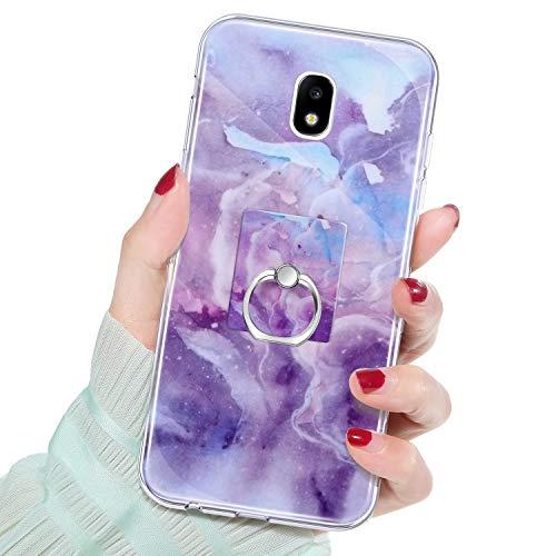 QPOLLY Kompatibel mit Samsung Galaxy J3 2017/J330 Hülle,Glänzend Bling Glitzer Marmor Muster Schutzhülle mit Ring Ständer Weiches TPU Silikon Bumper Handyhülle Case für Galaxy J3 2017/J330,#8