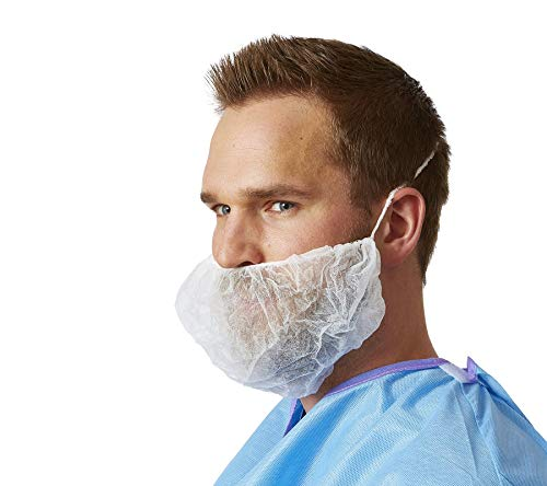 AMZ White Beard Covers 18 x 8 inch. Pack of 100 Disposable Beard Nets. Spunbonded Polypropylene Beard Protectors. Facial hair covering with Single loop. Protective Beard Masks Breathable, Lightweight.