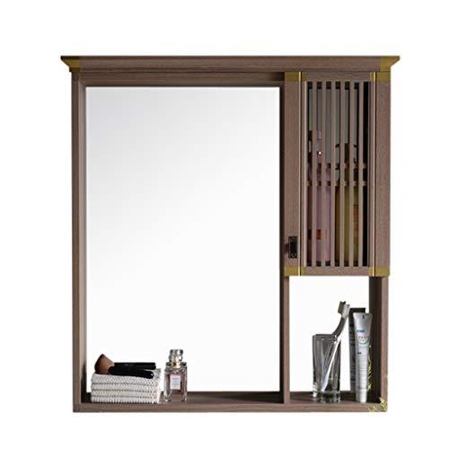 Armoires avec miroir Miroir en Bois Massif Armoire de Toilette Rack de Stockage Multicouche Mural Armoires de Cuisine Porte-médicaments Miroirs de Salle de Bain (Color : A, Size : 69 * 12 * 70cm)
