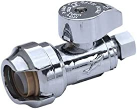 SharkBite 23037-0000LFA Straight Stop Valve 1/2 inch x 3/8 inch, Compression Fitting, Water Valve Shut Off, Push-to-Connect, PEX, Copper, CPVC, PE-RT