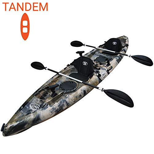 BKC TK181 12' 8' Tandem 2 or 3 Person SIt On Top Kayak w/ Soft Padded Seats, 2 Paddles and 7 Fishing Rod Holders Included - 2-3 Person Fishing Kayak