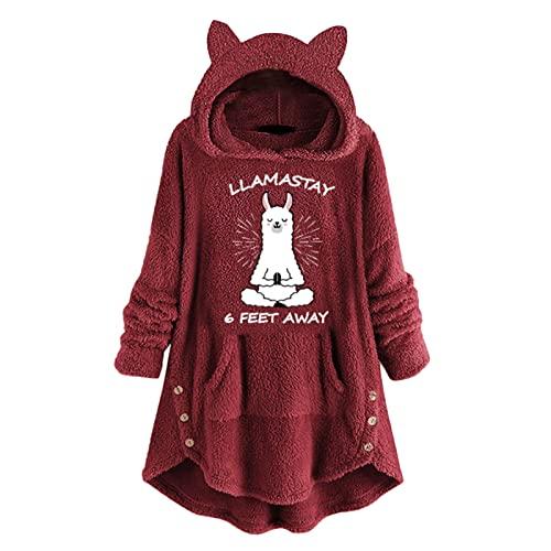 TUDUZ Sudadera con Capucha Mujer Jersey Acrílico LanaGato Pijama Hoodie Botón Abrigo Cálido Talla Extra S-5XL(Yc Rojo,XL)