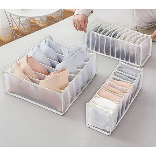 Wondsea 3 Stück Schubladen-Organizer für Unterwäsche, Unterwäsche, Unterschrank, faltbare Aufbewahrungsboxen, Socken, BH zum Aufrüsten und Falten, Socken, Unterhosen (weiß)